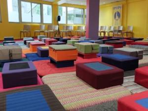 Photo de la salle de pratique de la Maison de la méditation