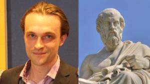 L'enseignant Alexis Lavis et sculpture de Platon
